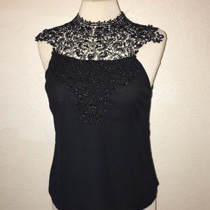 Black blouse tank with lace & tie detail